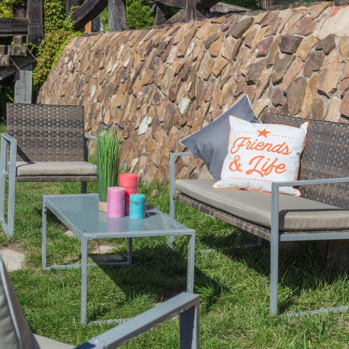 Salon de Jardin Rotin Marron ORNELLO | 3 SUISSES