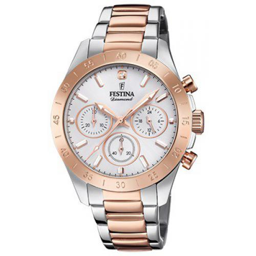 Festina - Montre Festina Boyfriend Collection F20398-1 - Montre Chronographe Bicolore Rose  Femme - Montre femme