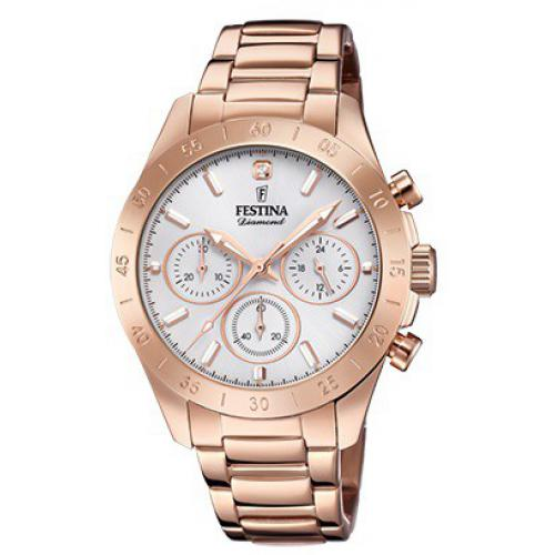 Festina - Montre Festina Boyfriend Collection F20399-1 - Montre Chronographe Acier Rose Femme - Montre Femme