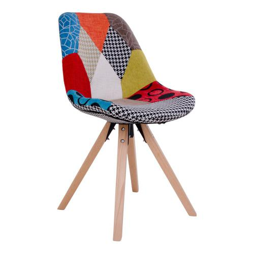 3S. x Home - Chaise Scandinave Patchwork Multicolore ELSE - Chaise, tabouret, banc