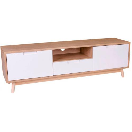 3S. x Home - Meuble TV Scandinave Blanc DORO - Meuble TV
