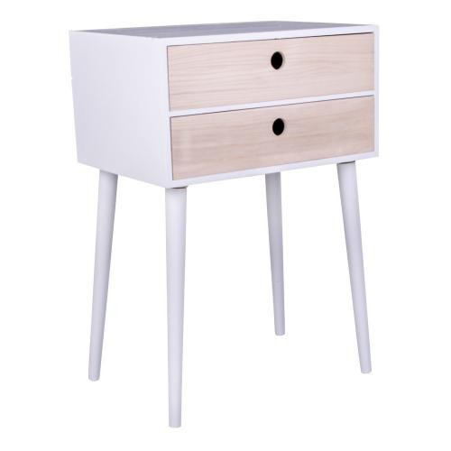 3S. x Home - Table de Chevet Scandinave Blanche 2 Tiroirs RIKKE - Chambre adulte