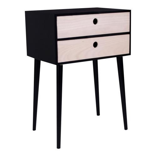 3S. x Home - Table de Chevet Scandinave Noire 2 Tiroirs RIKKE - Table de chevet