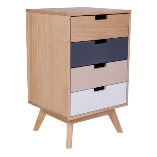 3S. x Home - Commode Scandinave 4 Tiroirs Multicolore JONNA - Commode