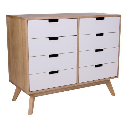 3S. x Home - Commode Scandinave 8 Tiroirs Blancs JONNA - Commode