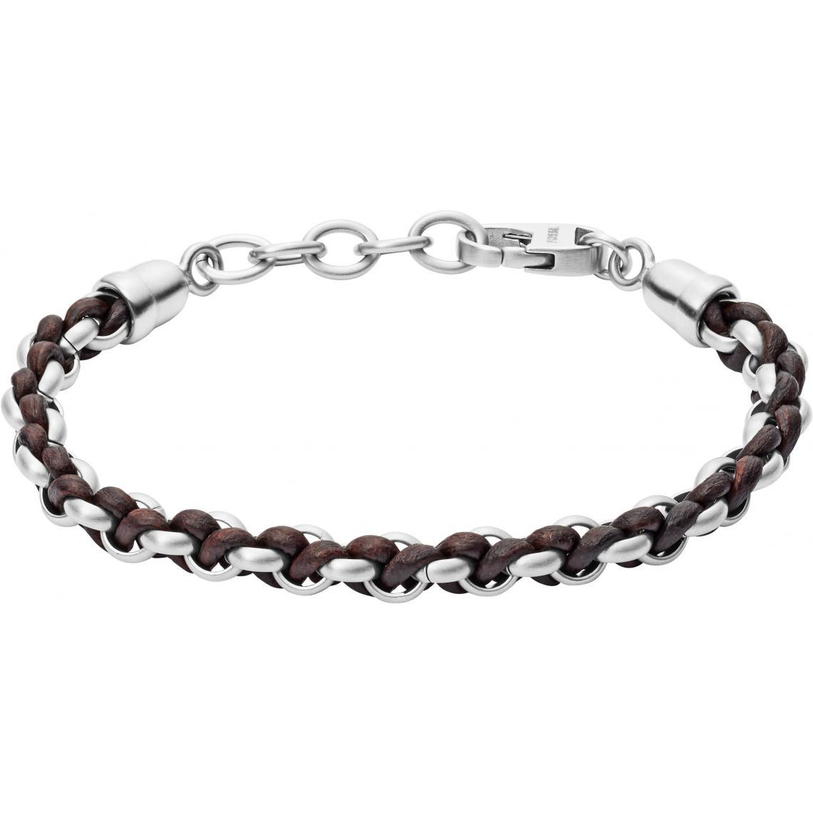 Promo : Bracelet JF02936040 - Bracelet Cuir Noir - Fossil Bijoux - Modalova