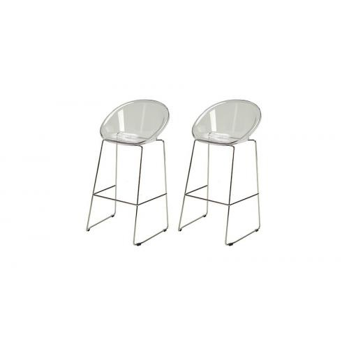 3S. x Home - Lot de 2 Tabourets de Bar Design Transparent BOLD - GRANDSOLEIL