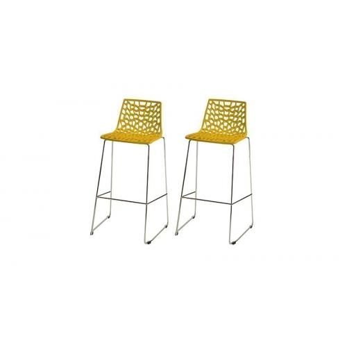 3S. x Home - Lot de 2 Tabourets de Bar Design Jaune MASSILIA - Chaise, tabouret, banc