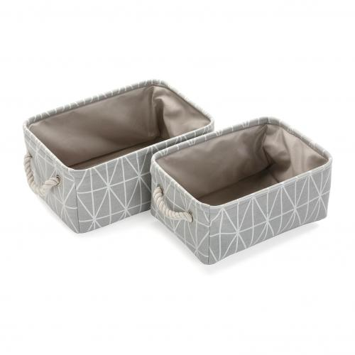 3S. x Home - Set de 2 Paniers Gris LUPA - Dressing & rangement