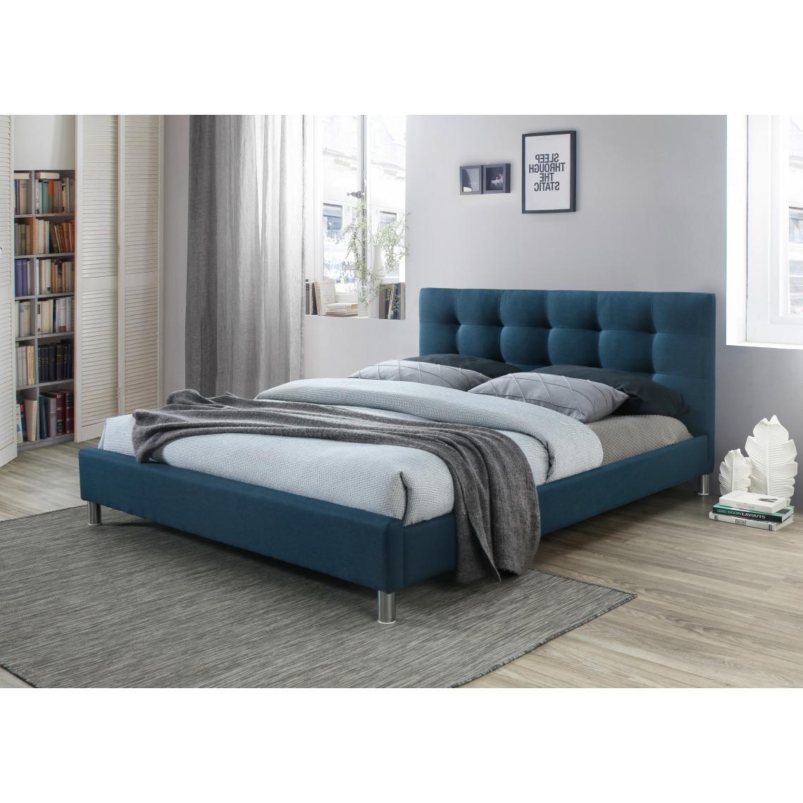 lit bleu 160 en tissu avec t te de lit capitonn e eva. Black Bedroom Furniture Sets. Home Design Ideas