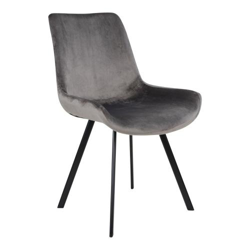 House Nordic - Chaise Velours Gris DRAMMEN - Chaise, tabouret, banc