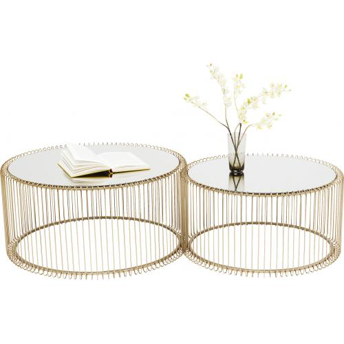 KARE DESIGN - Set de 2 Tables Basses Doré WIRE - Le salon