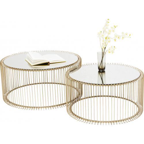 Set de 2 Tables Basses Doré WIRE | 3 SUISSES
