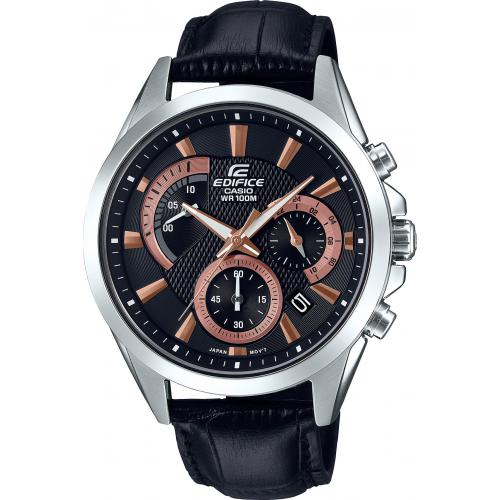 Casio - Montre Casio EDIFICE EFV-580L-1AVUEF - Montre EDIFICE Cuir Noir  Homme - Montre Homme