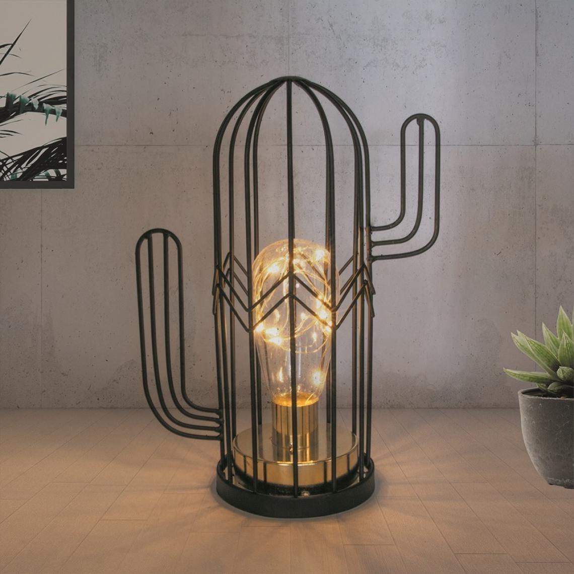 Lampe à Poser Cactus Noir LOANE WSOwF