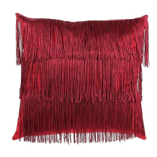 3S. x Home - Coussin Velours Franges Rouge VICTORIA