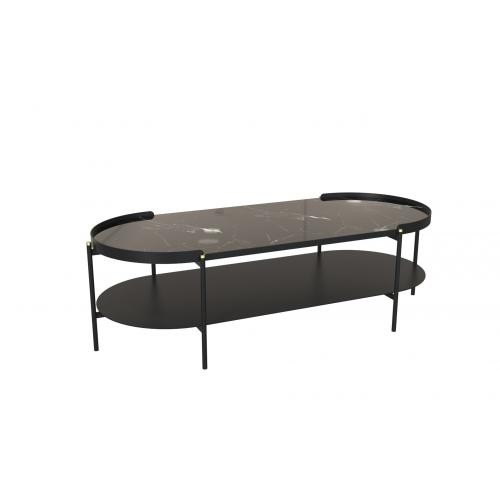3 SUISSES - Table Basse Noire Métal UNICA - Table basse