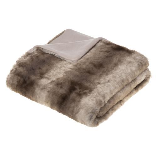3S. x Home - Plaid RAY Effet Fourrure Grizzli 120X160 - Cocooning façon Noël