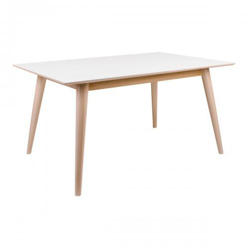 House Nordic - Table à Manger COPENHAGEN Blanc et Pietement Naturel 150/230x95 cm - Table