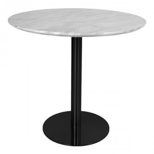 House Nordic - Table à Manger Noir Effet Marbré ø110x75cm ZALONO - Table