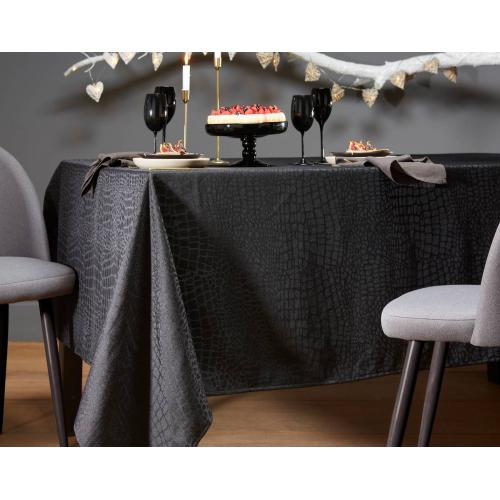 Becquet - Nappe Rectangulaire Damassée Style Croco Noir 150 x 250 cm - Linge de table