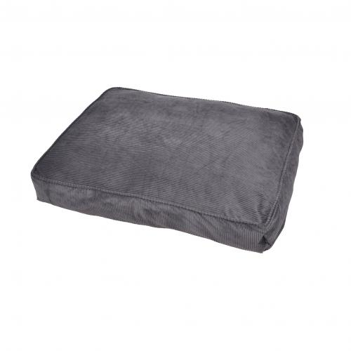 3S. x Home - Coussin Rectangle Déhoussable Côtelé Gris - Meuble & Déco