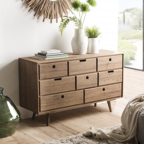 Macabane - Commode ANDY Scandi Bois 8 Tiroirs Sapin - Promo Commode