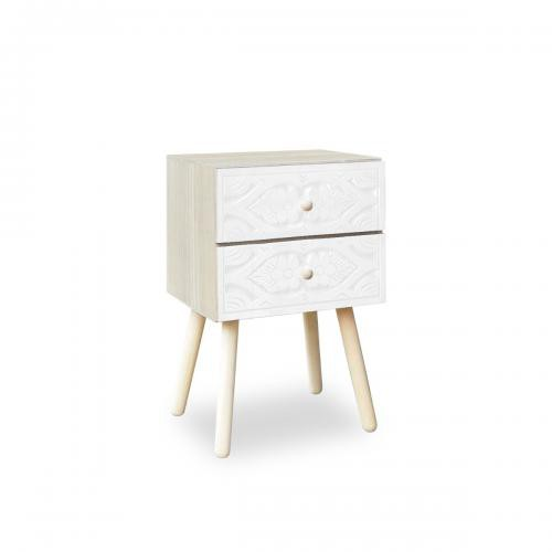 3S. x Home - Table de chevet Catana 2 tiroirs Blanc - Table de chevet