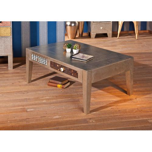 3S. x Home - Table Basse NOIDA 2 Tiroirs - Table basse