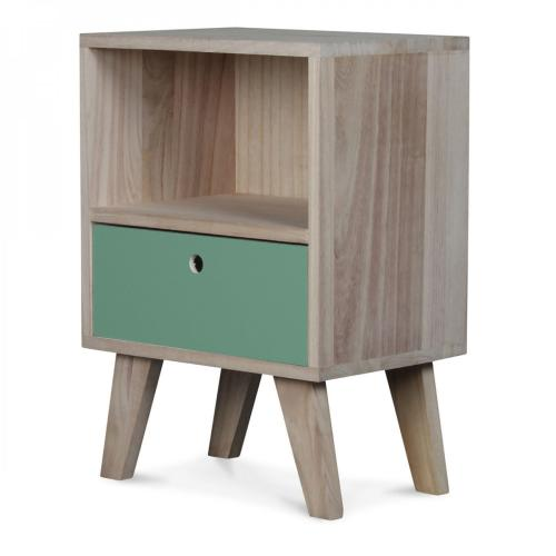 3S. x Home - Table de Chevet Bois Vert Clair MONTREAL - Table de chevet