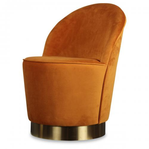3S. x Home - Fauteuil Velours Design Orange ADAM - Bohème chic