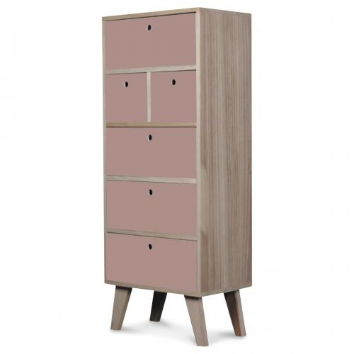 3S. x Home - Chiffonnier 6 Tiroirs Rose ASSIYA - Dressing & rangement