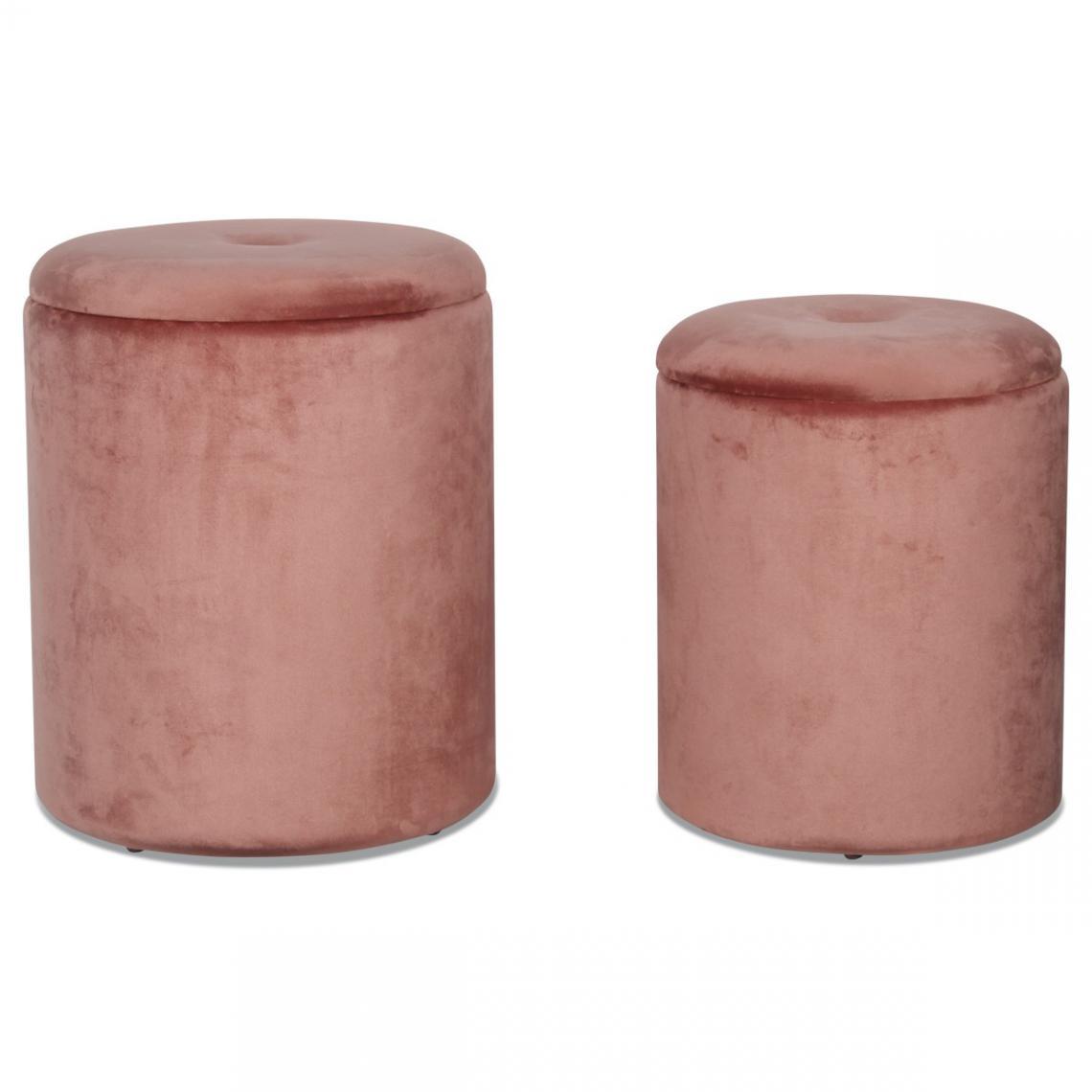 Lot de 2 Poufs Coffre Rose COURCELLES | 3 SUISSES