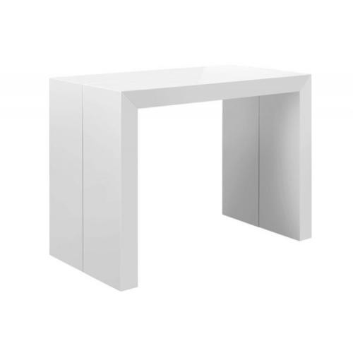 3S. x Home - Table Console Extensible Blanc Laqué Nicky 3 Rallonges - Table extensible