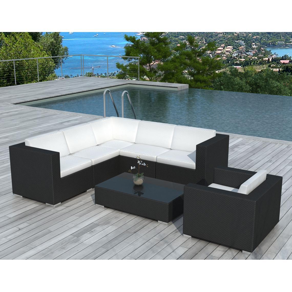 Salon de jardin noir et blanc en résine tressée CALIFORNIE 216x216x63
