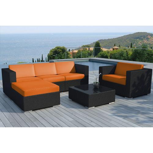 Salon de jardin résine tressée noir et orange LAGON - 3 SUISSES