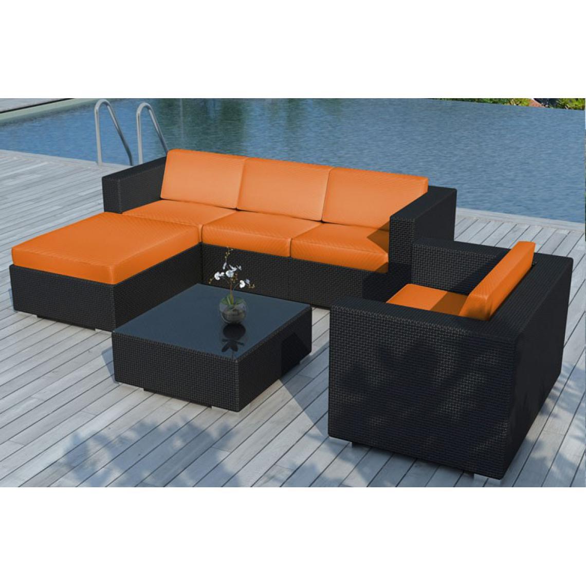 Salon de jardin résine tressée noir et orange LAGON 203x72x63
