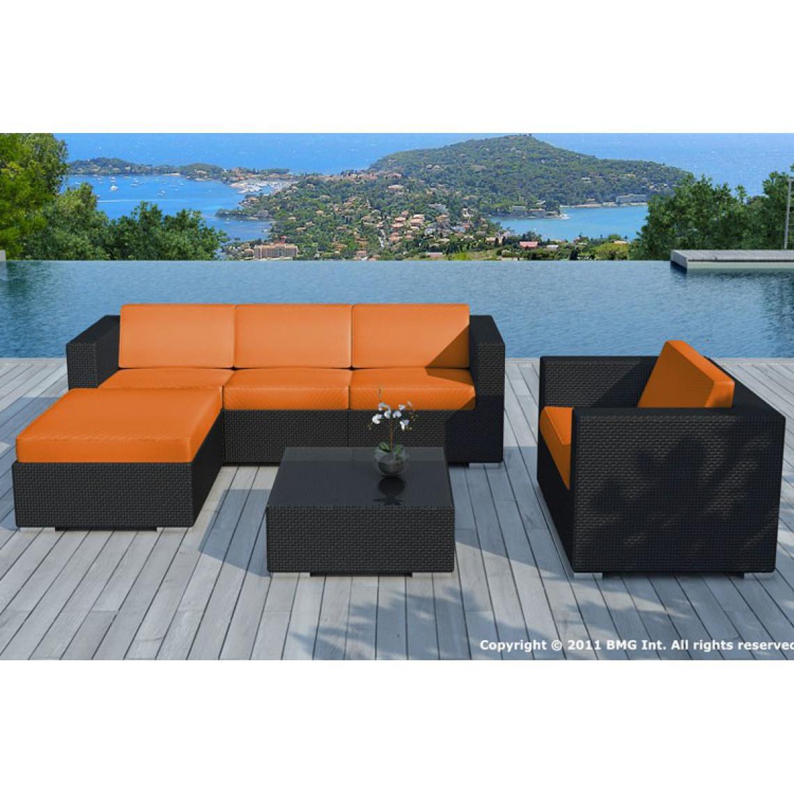 Salon de jardin résine tressée noir et orange LAGON | 3 SUISSES