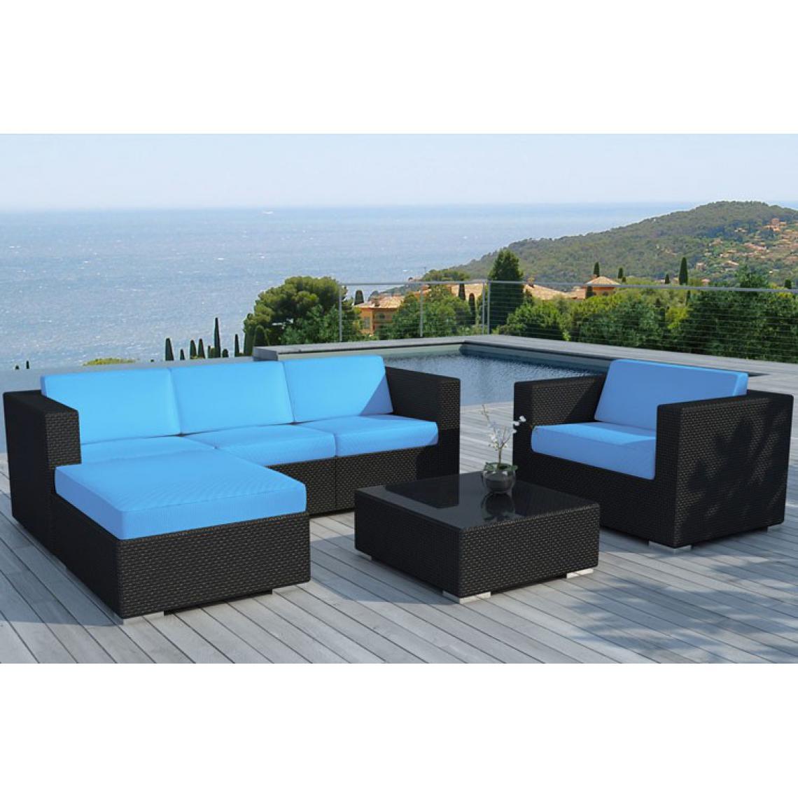 Salon de jardin en résine tressée noir et bleu LAGON | 3 SUISSES