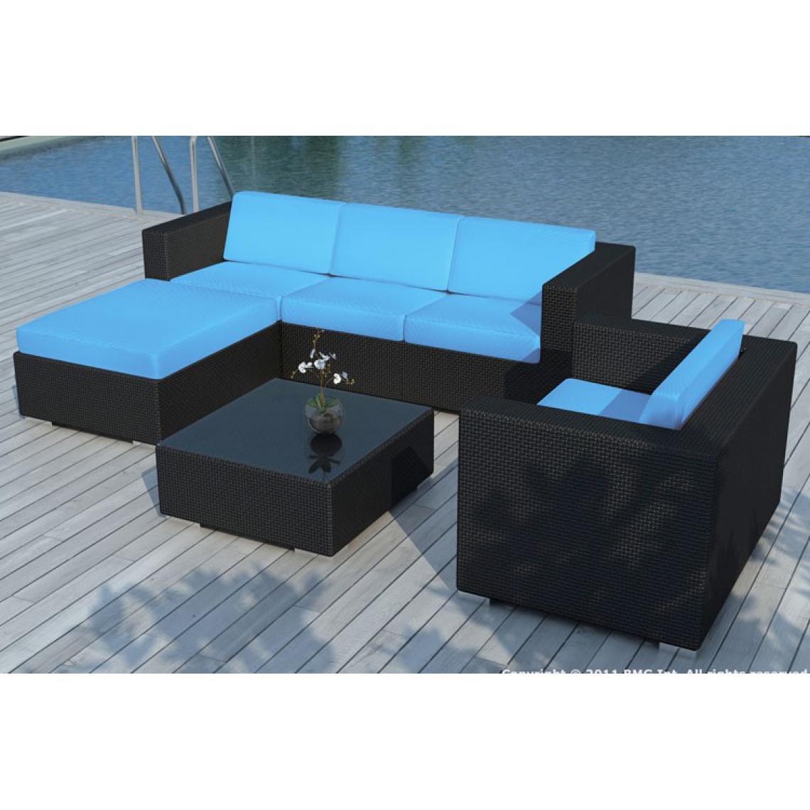 Salle A Manger De Jardin En Resine Tressee salon de jardin en résine tressée noir et bleu lagon 203x72x63 plus de  détails