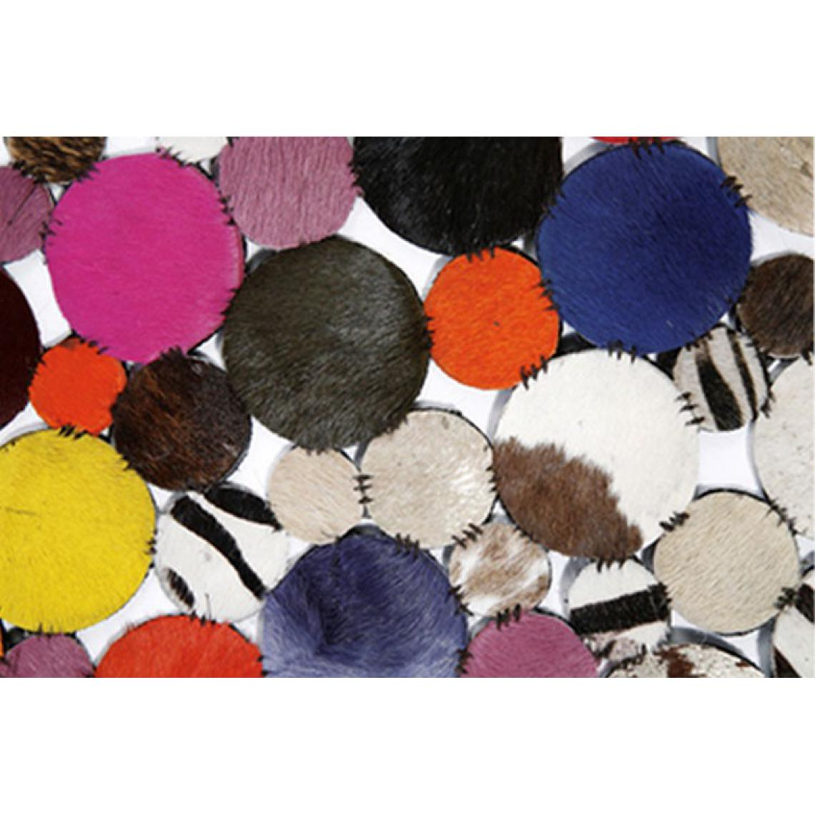 Tapis Rond en Cuir Multicolore 150X150 IrZVU