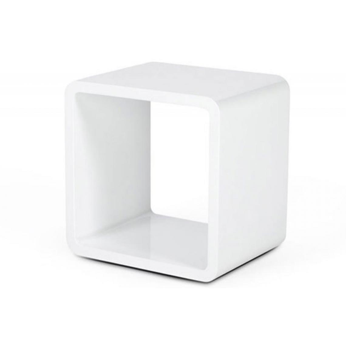 Table de Chevet Design Cube Blanc Laqué 45x45x35