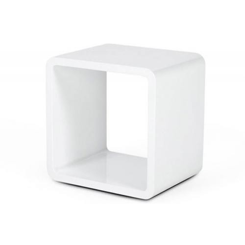 3S. x Home - Table de Chevet Design Cube Blanc Laqué - Chambre adulte