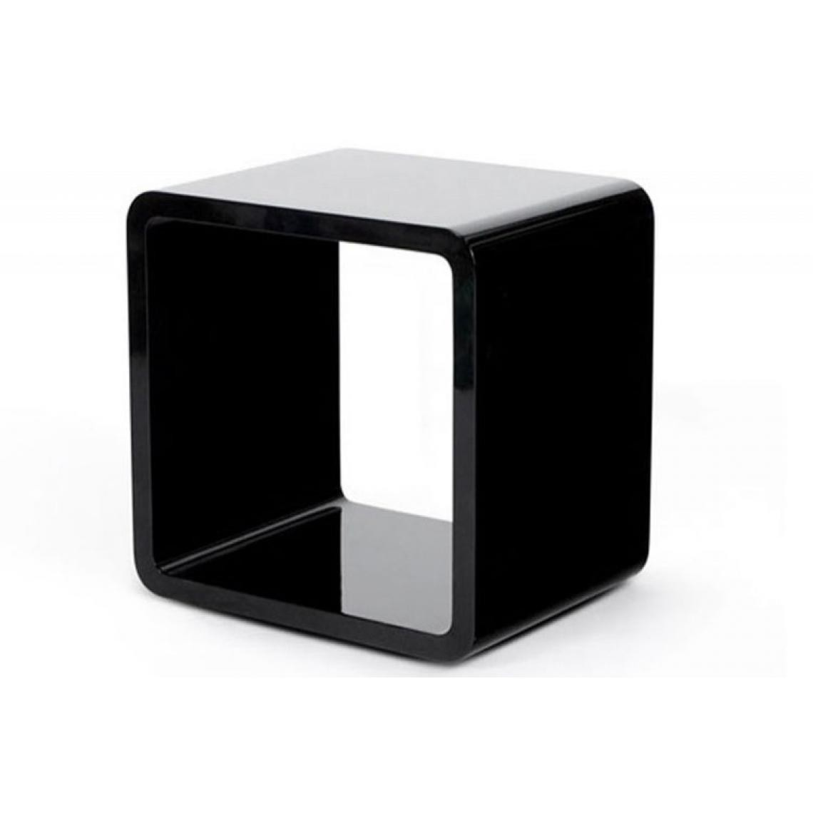 Table De Chevet Design Cube Noir Laque 3 Suisses