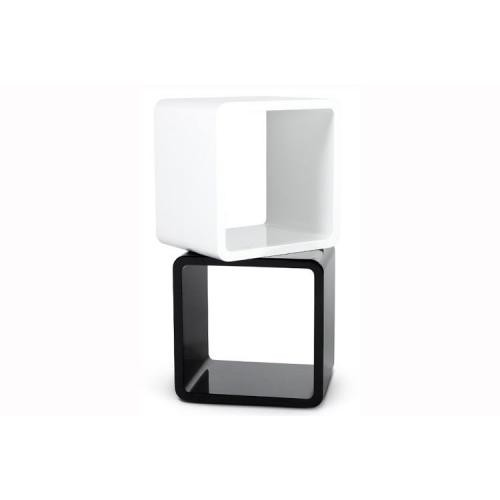 3S. x Home - Table de Chevet Design Cube Noir Laqué - Chambre adulte