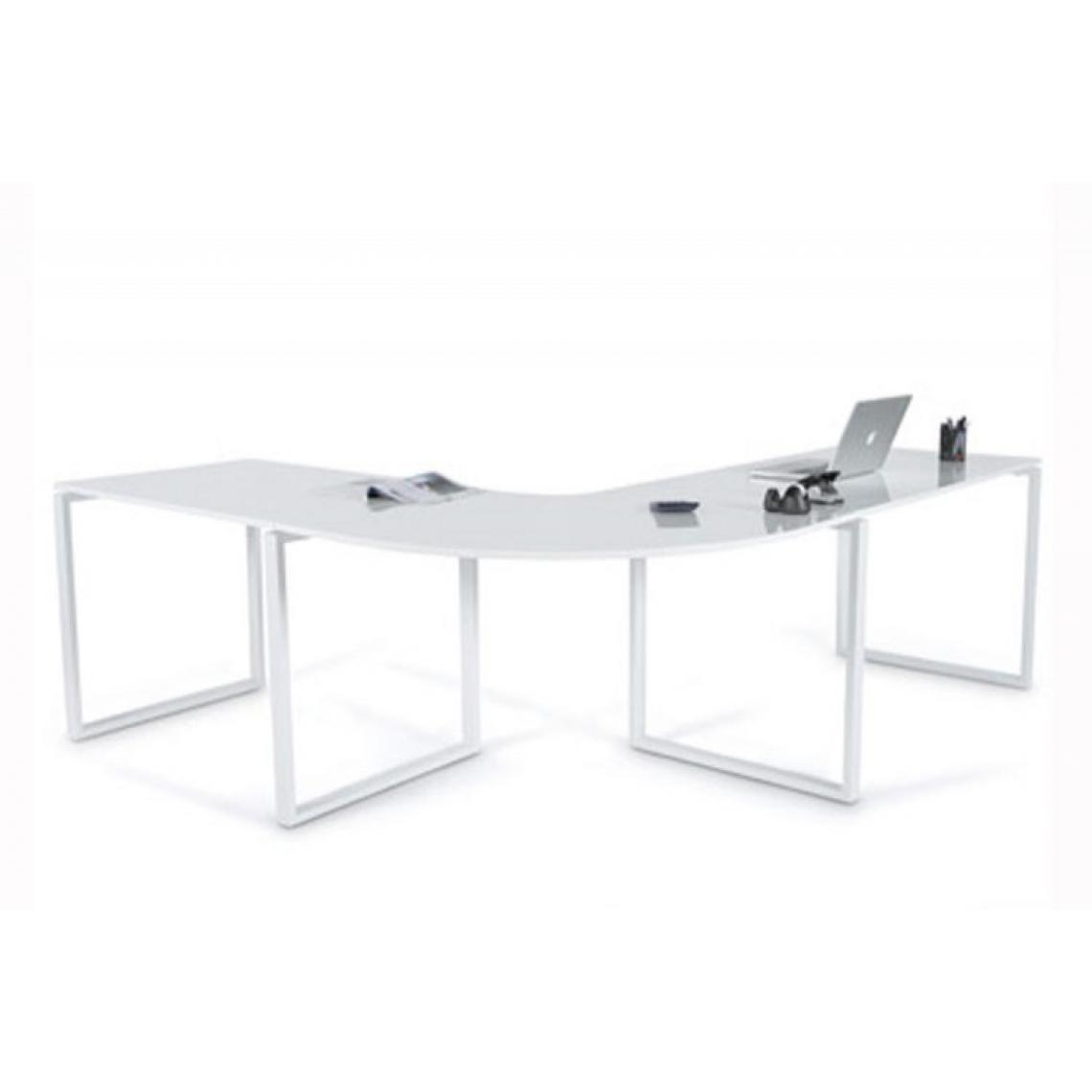 Bureau D Angle Blanc Laque President 330x70