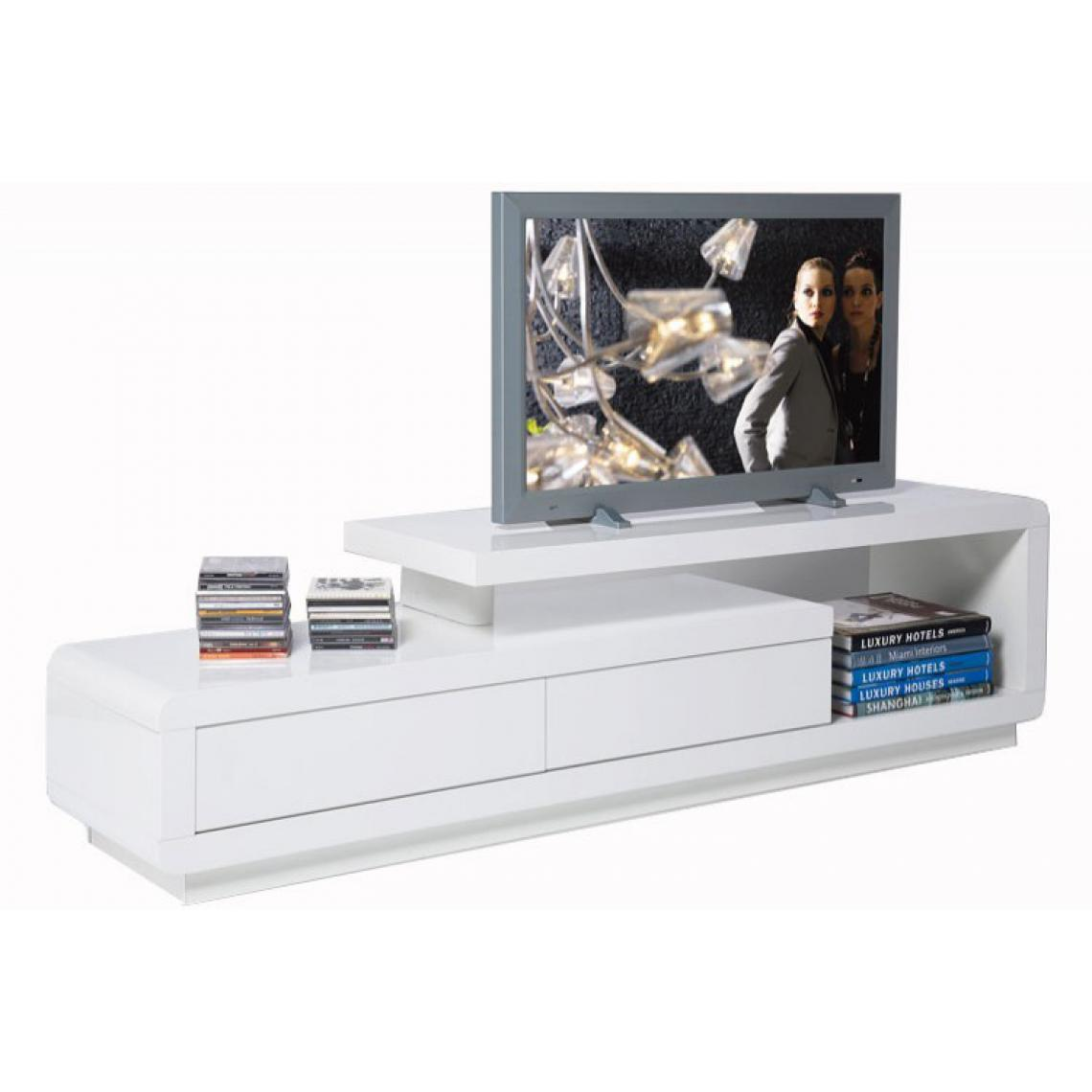 Meuble Tv Blanc Laque Avec Tiroirs People 170x40x45