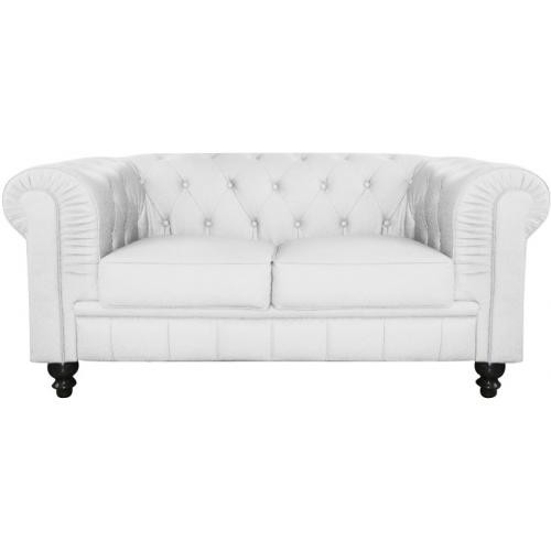 3S. x Home - Canapé 2 Places Chesterfield Blanc ANTONIANO - Canapé