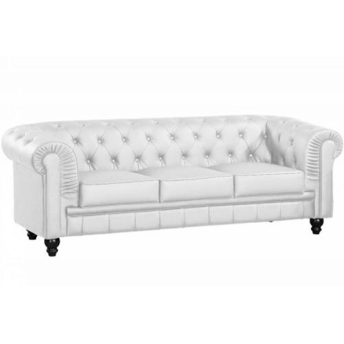 3S. x Home - Canapé chesterfield simili blanc capitonné 3 places - Meuble & Déco