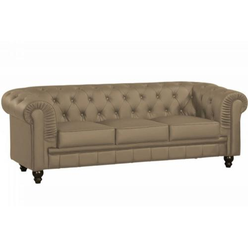 3S. x Home - Canapé chesterfield simili taupe capitonné 3 places - Meuble & Déco